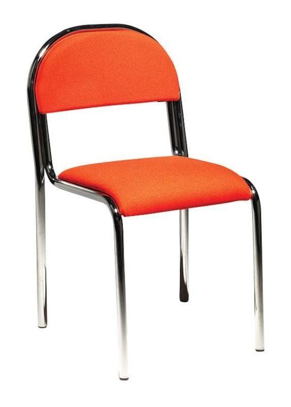 Konferensstol Lonett, stapelbar, stativ krom, orange
