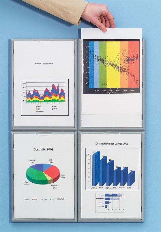 Display Rammer A4 | Ramme Af Polyester | Aluminiumfarvet | 4-Pak | Gerdmans | Fri Fragt | 7 års ...