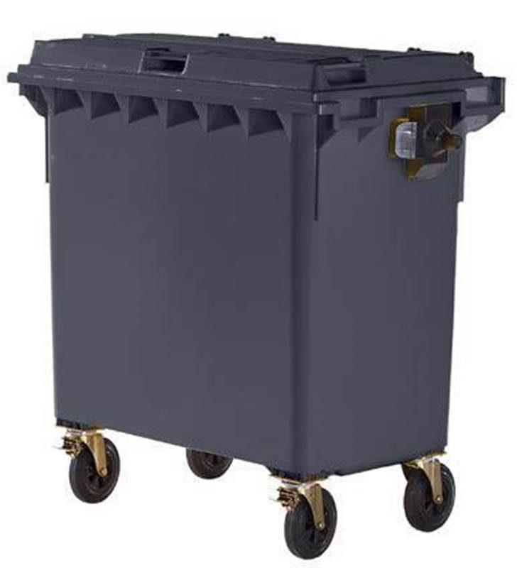 Stor søppeltønne i plast DIN EN 840, volum 770 l, antrasittgrå /Outlet