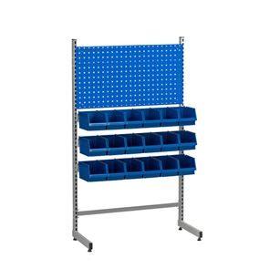 Verktøyoppbevaring Lodur. Komplett pakke med verktøypanel, 2 hyller og 18 lagerbokser. Høyde 1550 mm